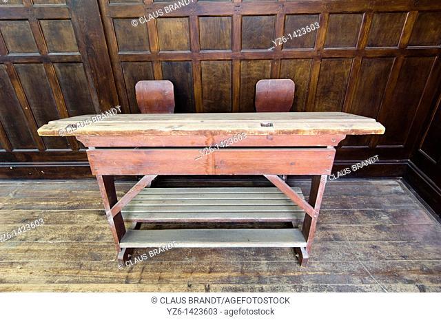 Old school desk, Kolmanskop ghost town near Luederitz, Namibia