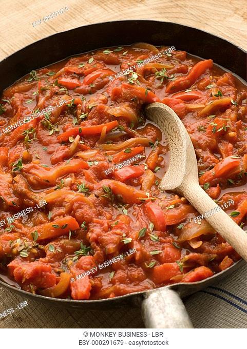 Piperade in a Saut Pan