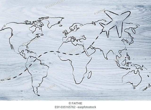 plane air route and world map, global travel and business