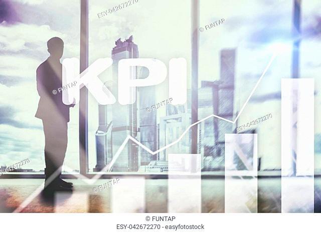 KPI - Key performance indicator graph on blurred background