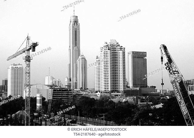 Cranes against the skyline of Bangkok