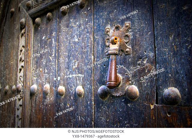 Typical door knocker, Sos del Rey Catolico, Cinco Villas, Zaragoza province, Aragon, Spain