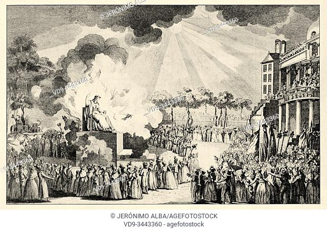 Feast of the Supreme Being of 20 years (Prairial II, June 8, 1794), searched by Robespierre and orchestrated by J. L. David