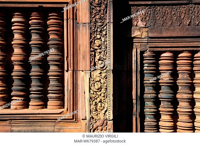 tempio banteay srei, particolare, angkor, cambogia