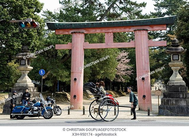Motorbikes and rickshaw, Torii, park, Nara, Japan
