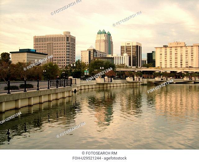 Orlando, FL, Florida, Downtown skyline, Lake Lucerne