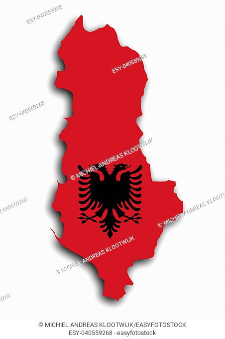 Country shape outlined and filled with the flag, Albania