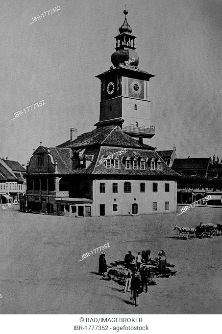 Old city hall of Brasov, Transylvania, Romania, Europe, historical photograph from around 1900
