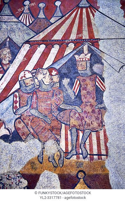 """Gothic fresco mural painting """"THE CONQUEST OF MAJORCA"""" 1285-1290. National Museum of Catalan Art, Barcelona, Spain, inv no: 071447-CJT"""