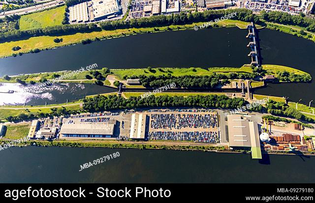 Aerial view of the Ruhrschleuse Duisburg in Duisburg harbor Duisport AG on the Ruhr river with Ruhr mouth in the Rhine in overview and details in Ruhrort in...