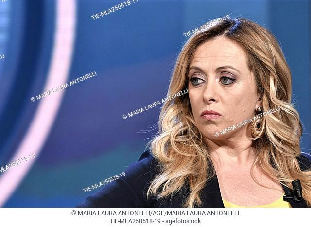 Leader of Fratelli D'Italia party Giorgia Meloni during the tv show Porta a porta, Rome, ITALY-24-05-2018