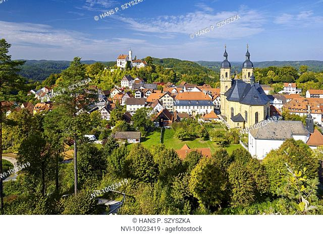 View from the Kreuzberg on Pilgrimage Church and castle, Gößweinstein, Upper Franconia, Bavaria, Germany