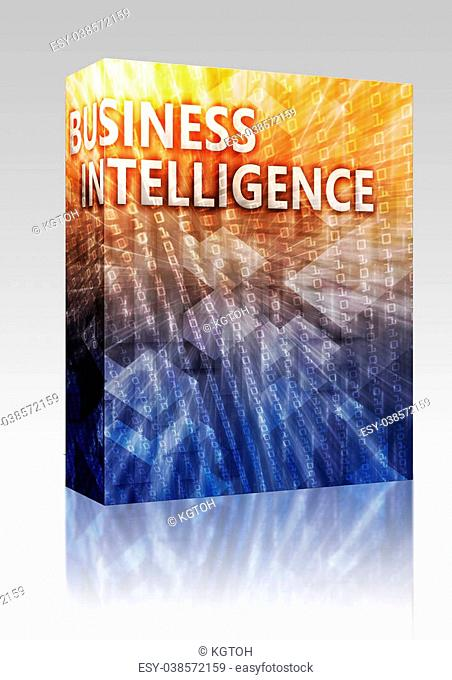 Software package box Business intellegence abstract, computer technology concept illustration