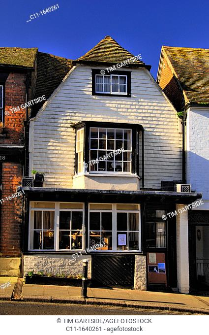 street scene showing old medieval buildings, in historic citidel ,in five cinque port, Rye, East Sussex, England, UK , Europe