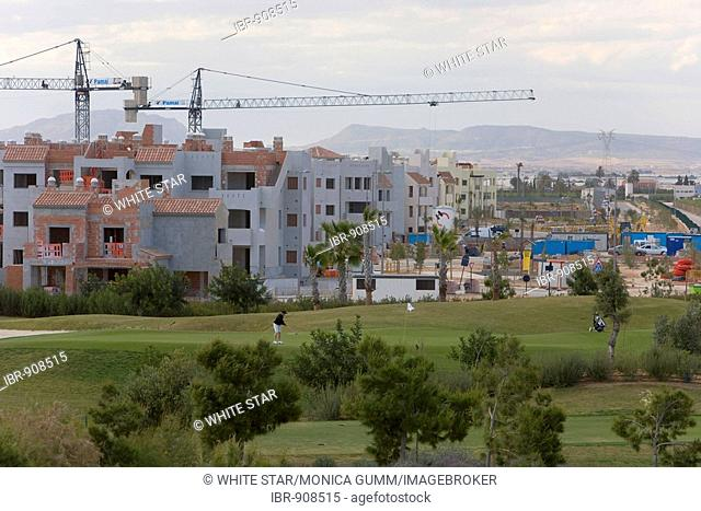 Building boom behind a new golf course in Los Alcazares, Murcia Region, Spain, Europe