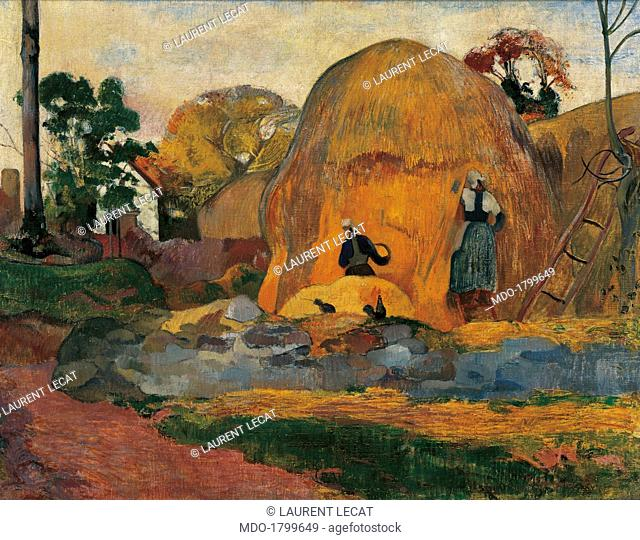 Yellow Sheaves, by Paul Gauguin, 1889, 19th Century, oil on canvas, 73 x 92 cm. France, Paris, Musée d'Orsay. Whole artwork view