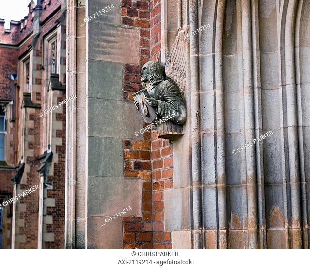 United Kingdom, Northern Ireland, Stone Angel Figure On Facade Of Queens University Library; Belfast
