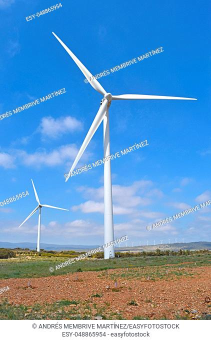 . . Wind energy fans in the province of Teruel Spain
