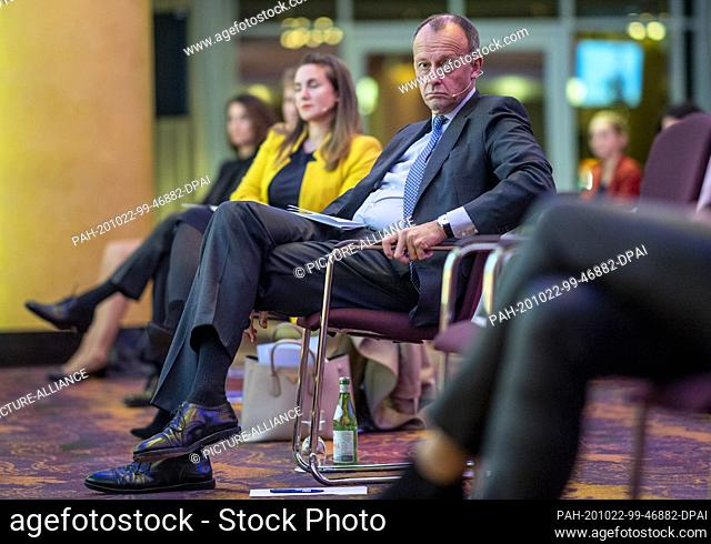 """22 October 2020, Hamburg: Friedrich Merz (CDU) sits among the audience at the political evening of the Hamburg CDU. The evening's motto was: """"""""Theme: """"""""Jobs"""