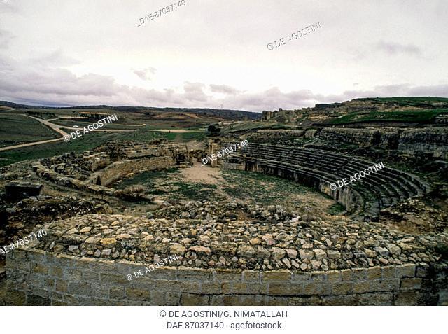 Roman amphitheatre, Segobriga archaeological park, near Saelices, Castile-La Mancha, Spain. Roman civilisation, 1st-2nd century