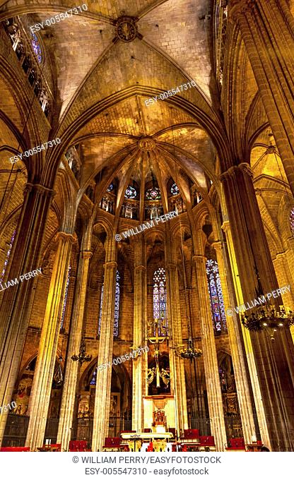 Stone Columns Catholic Basilica Barcelona Cathedral in Catalonia Spain. Built in 1298