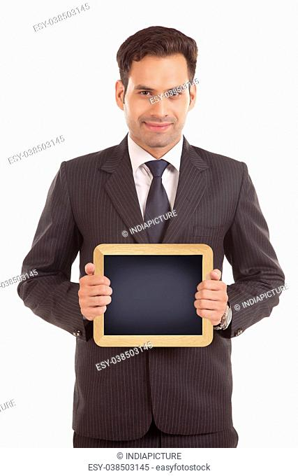 Businessman hold with chalkboard
