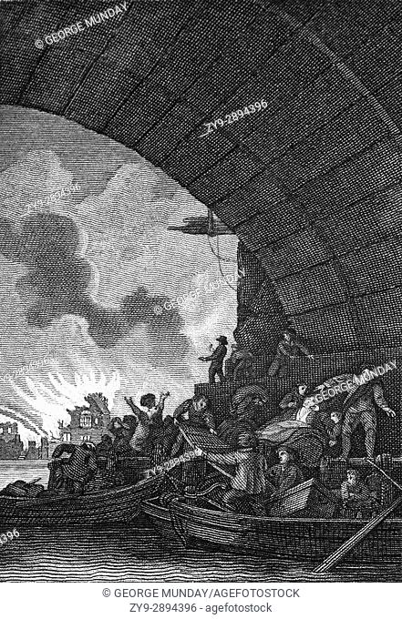 A view from the River Thames of the Great Fire of London, a major conflagration that swept through the central parts of the English city of London from Sunday
