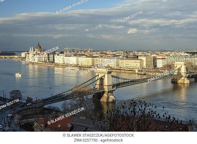 Early spring on river Danube in Budapest, Hungary