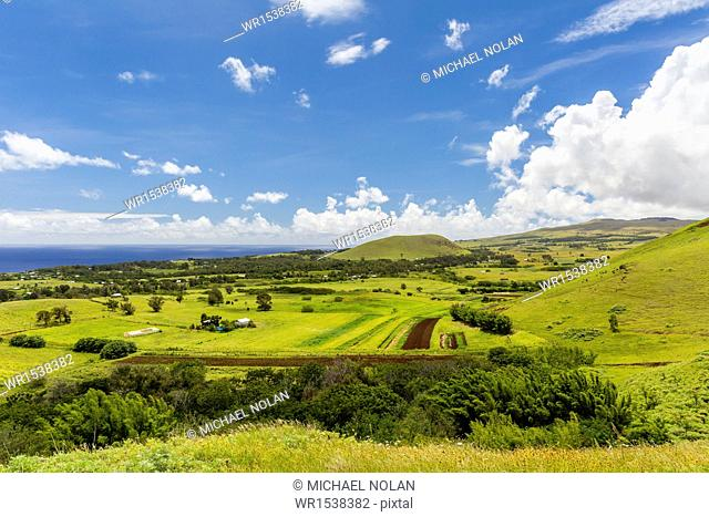 A view of the outskirts of Hanga Roa, Rapa Nui National Park, UNESCO World Heritage Site, Easter Island (Isla de Pascua), Chile, South America