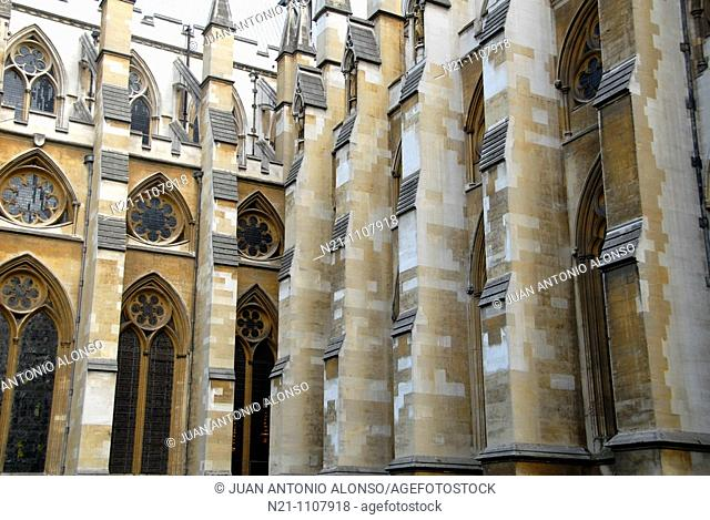Partial view of  the Westminster Abbey façade. London, Great Britain, Europe