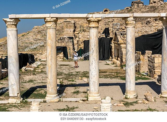 Tomb of St. Philip in ancient Greek city Hierapolis, Pamukkale, Turkey. 25 August 2017