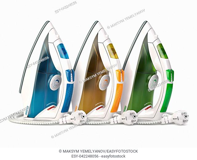 Steam irons isolated on white background. 3d illustration