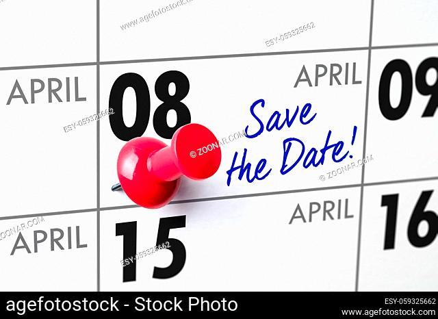 Wall calendar with a red pin - April 08