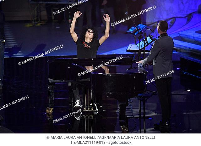 Giovanni Allevi, tv conducer Amadeus during the charity show ' Una serata di stelle' for the Hospital Bambino Gesu', Paul VI Hall, Vatican City