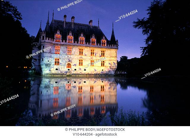 Night show at the Castle of Azay-le-Rideau,built from 1518 to 1527 by Gilles Berthelot in Renaissance style, Indre et Loire, France