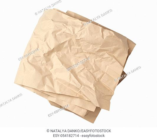 folded blank brown kraft paper sheet isolated on white background, template for designer