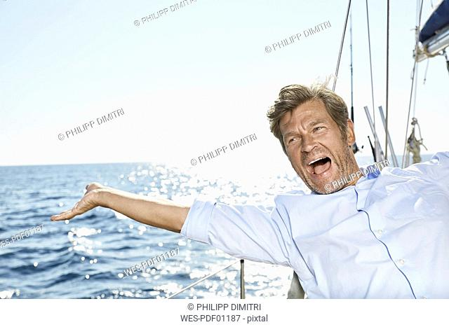 Portrait of screaming man on his sailing boat