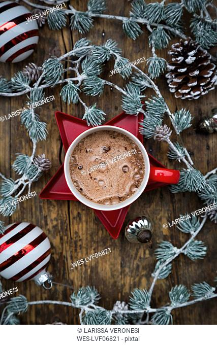 Cup of Hot Chocolate and Christmas decoration