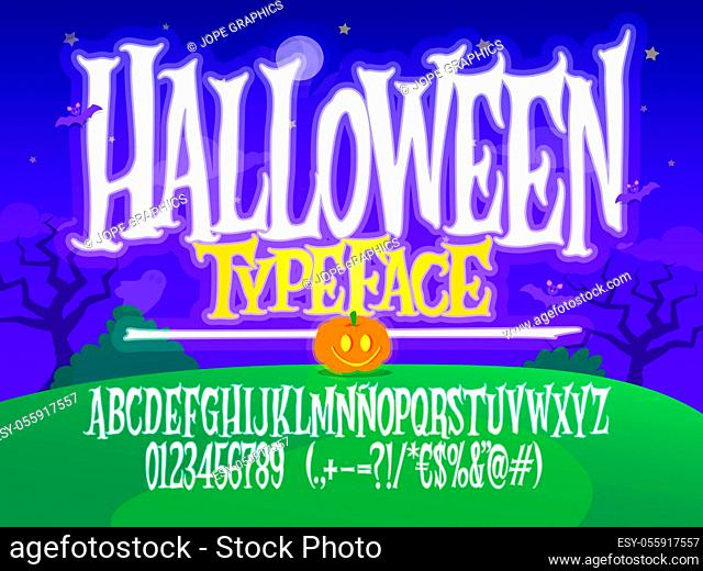 Halloween font. Spooky letters illustration. Vector alphabet with numbers and glyphs