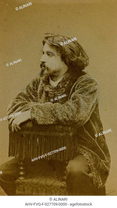 Portrait of Alphonse Daudet, French writer and dramatist, carte de visite, shot 1860-1870 by Carjat & C