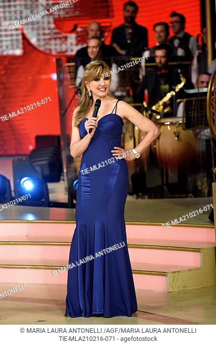 The presenter Milly Carlucci during the talent Show ' Dancing with the stars ', Rome, ITALY-21-02-2016