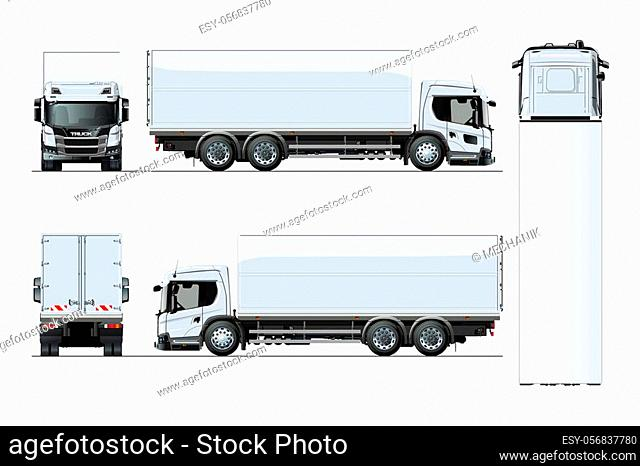 Vector truck template isolated on white for car branding and advertising. Available EPS-10 separated by groups and layers with transparency effects for...