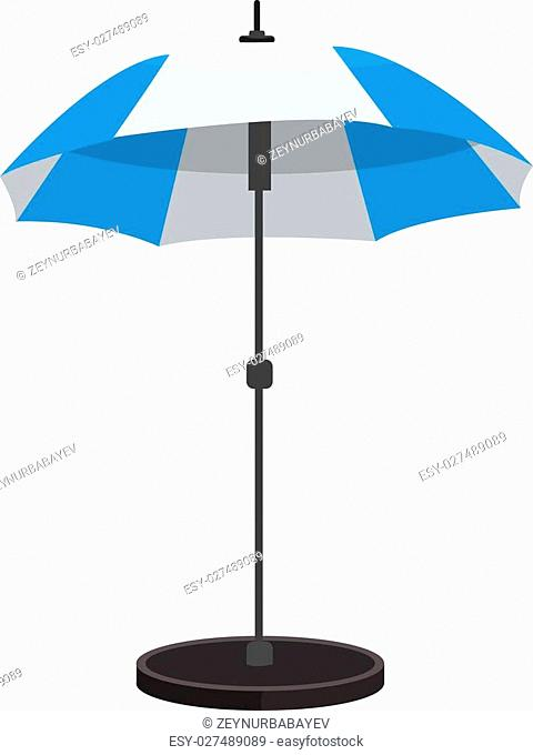 Beach umbrella icon with stand. Flat color design. Blue and white color and flat shadows