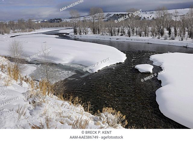 Gros Ventre River In Snow, Grand Tetons, Wy