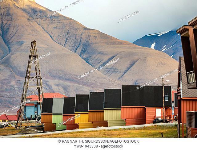 Wooden houses in Longyearbyen, Svalbard, Norway