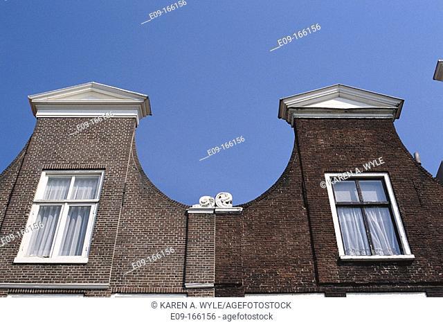 Detail of building facades, Haarlem, the Netherlands