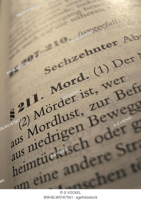 Legal text in statute book of national German law: German Criminal Code, Specific section: § paragraph 211: murder, Germany