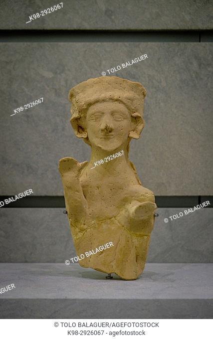 Male figure, 450-425 b.C., Ibiza and Formentera Archeological Museum, Patrimonio de la Humanidad «Ibiza, biodiversidad y cultura», Ibiza, Balearic Islands