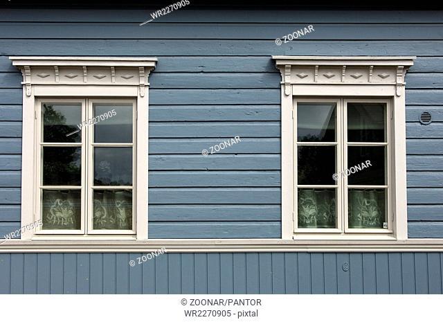Two windows in a Finnish block house, Porvoo