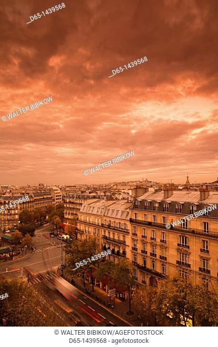 France, Paris, elevated view of Avenue de Wagram and Place des Ternes from the Renaissance Hotel, dusk
